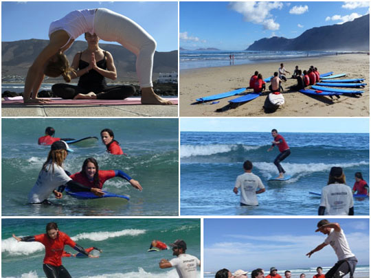 Practice yoga and learn to surf in Lanzarote, Playa Famara